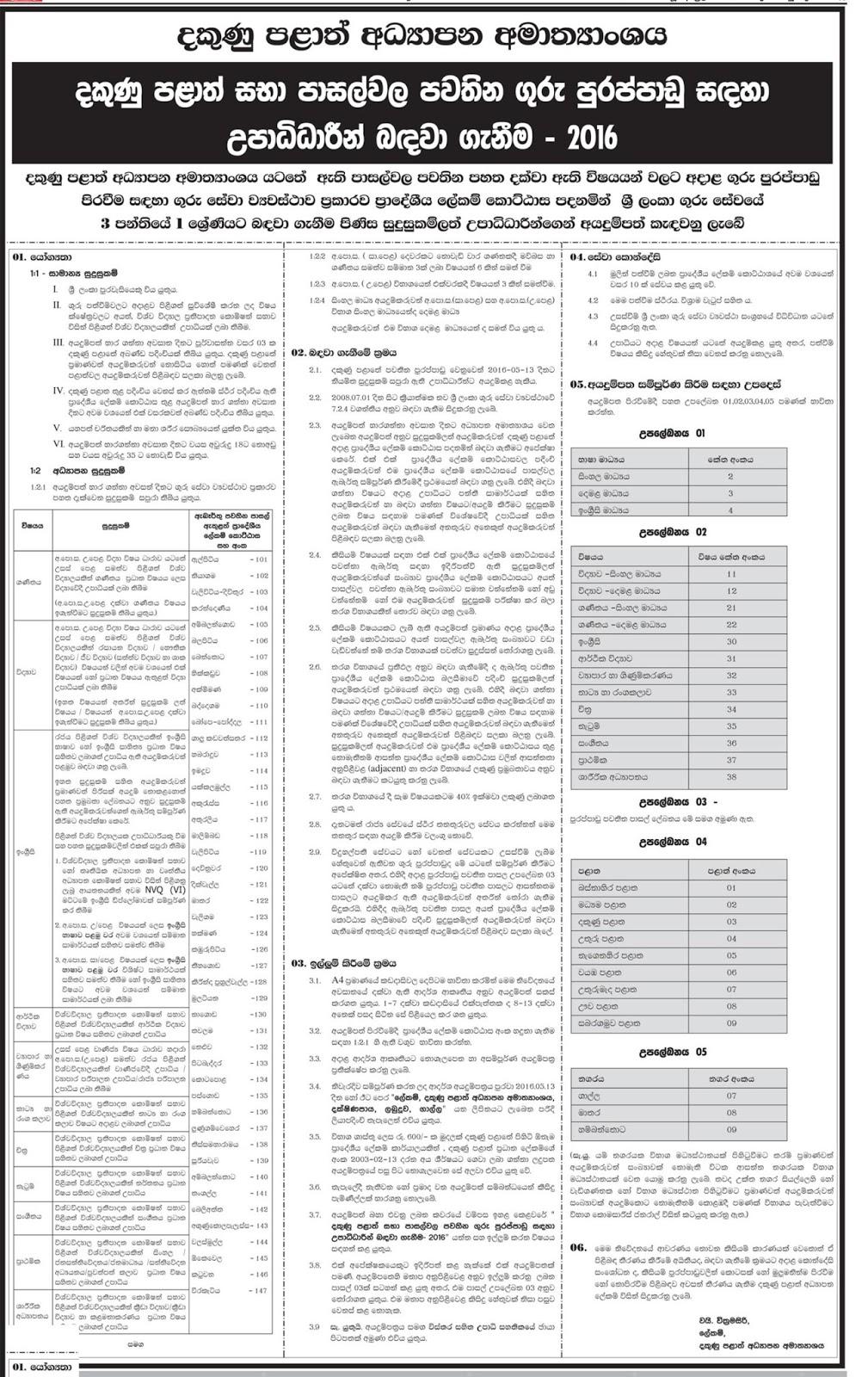 South Province Teaching Vacancies