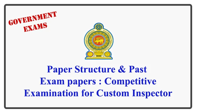 Paper Structure & Past Exam papers : Competitive Examination