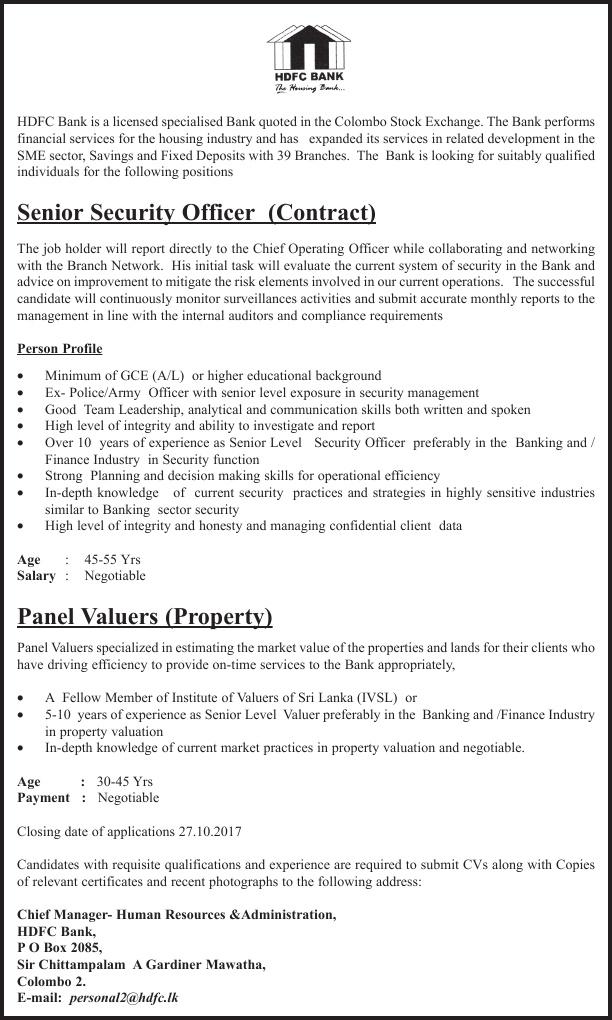 senior security officer h d f c bank gazette lk