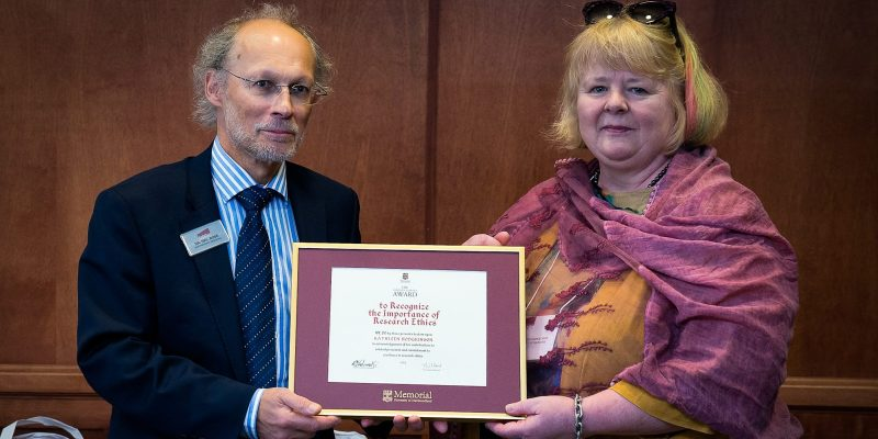 From left Dr. Neil Bose, vice-president (research) and Dr. Kathy Hodgkinson, 2017 recipient of the Marilyn Harvey Award to Recognize the Importance of Research Ethics.