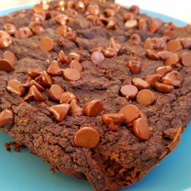 Easy healthy brownie oat squares made with carrots and other vegetables