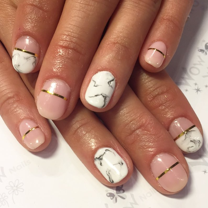Stone Pressed Marble Nail Design With Pink And Gold Stripe Sac