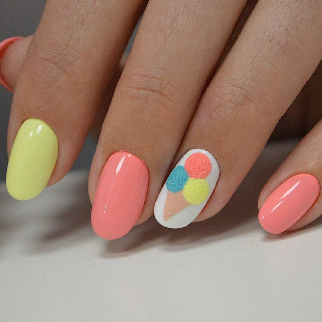 Simple Rounded Summer Nail Designs Pleasing And So Cute Love The Ice Cream Cone Print With Yellow Single Painted To Match It