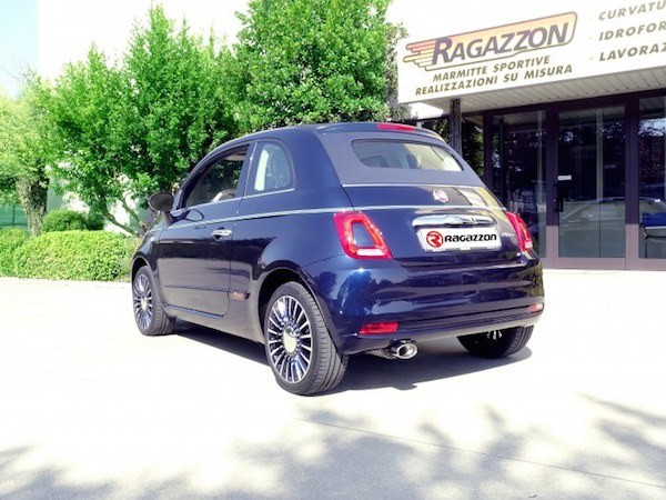 ragazzon stainless steel sports exhaust with oval 115x70mm tail pipe fiat 500 riva