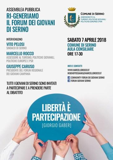 Locandina - JPG-copertina Assemblea Pubblica Ri-Generiamo il Forum dei Giovani di Serino