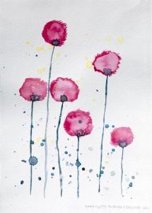Papaveri, acquerello su carta