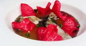 Gabriele Andreoni, ostrica, pesca Regina, daikon marinato e semi di chia