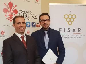 L'ideatore di Vinoè Lorenzo Sieni con Giovanni Baldini di Firenze Saké