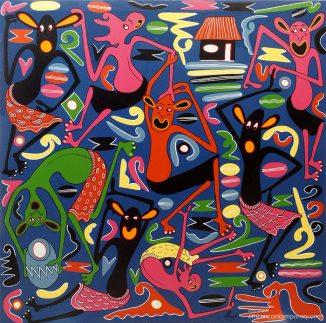 George Lilanga, Senza titolo, 2005, smalto su tela
