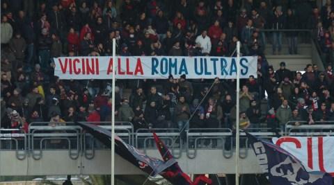 1718 samb reggiana tifosi striscione vicini alla roma ultras