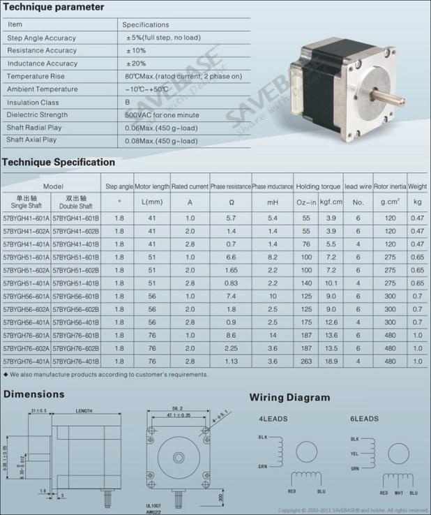 Nema motor size chart for Nema 42 stepper motor datasheet
