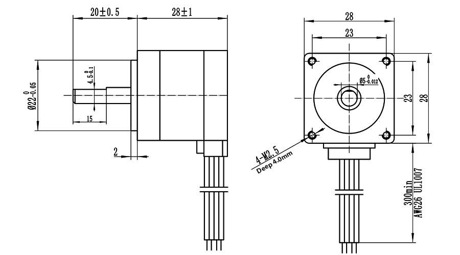 ENGMATE EMA112-2803S4 Nema 11 CNC Router Stepper Motor 4