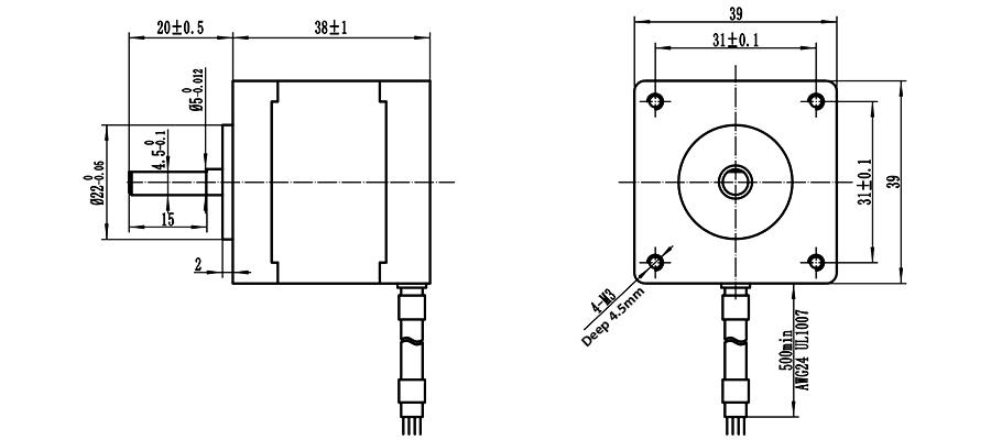 ENGMATE EMA164-3808S6 Nema 16 CNC Router Stepper Motor 6