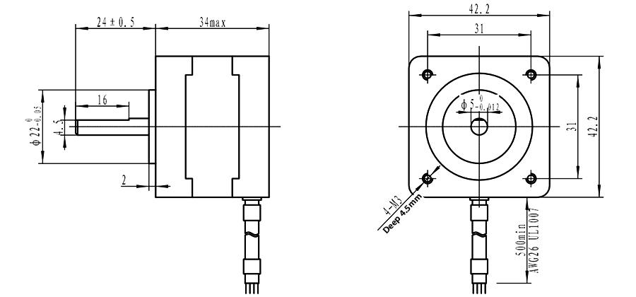 NEMA 17 Stepper Motor 0.31N.m Bipolar 0.4A for CNC Laser