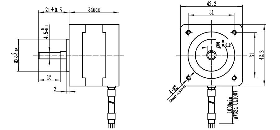 Home Automation 42x34mm Nema 17 Stepper Motor High Torque