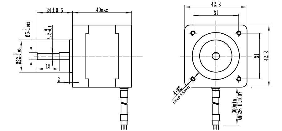 ENGMATE EMA174-4008S6 Nema 17 CNC Router Stepper Motor 6