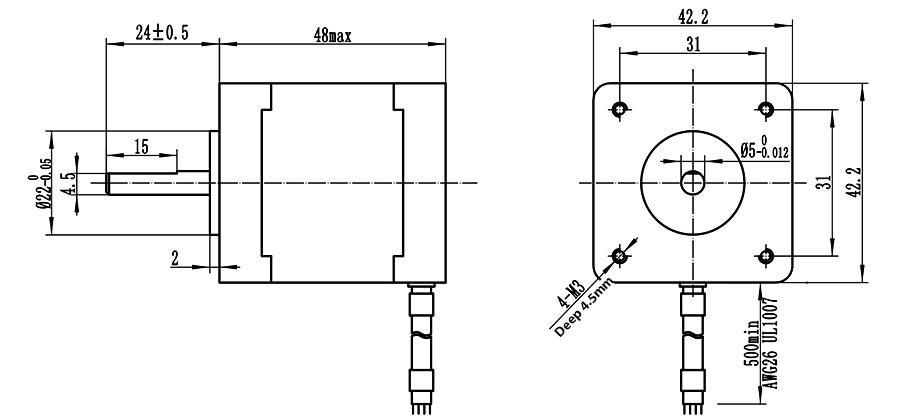 Home Automation 42x48mm Nema 17 Stepper Motor High Torque