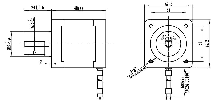 ENGMATE EMA172-4813S4 Stepper Motor 0.54N.m 1.8Degree 4