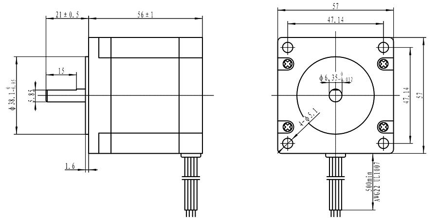 NEMA 23 Stepper Motor 0.88N.m Bipolar 2A for CNC Laser