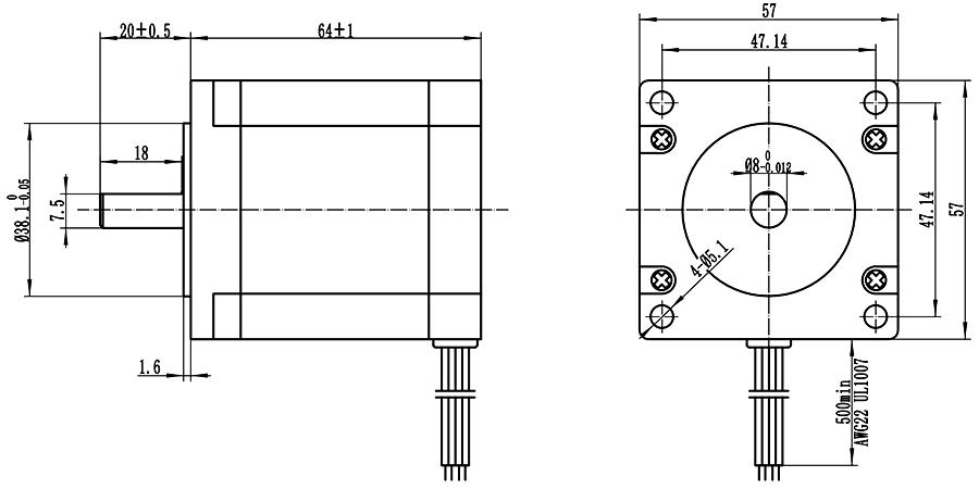 Home Automation 57x64mm Nema 23 Stepper Motor High Torque