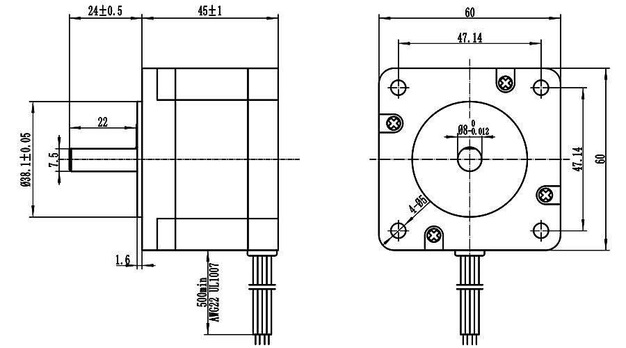 ENGMATE EMA242-4530S4 Stepper Motor 0.93N.m 1.8Degree 4