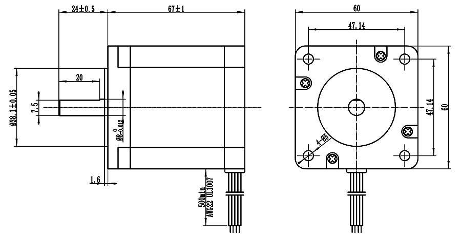 Home Automation 60x67mm Nema 24 Stepper Motor High Torque