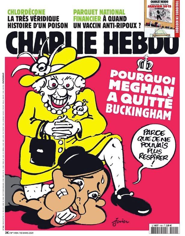 Magazine showing Queen kneeling on Meghan's neck like George Floyd