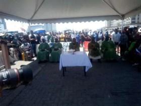 #EndSARS: Church service holds at Lekki Ajah Toll Gate