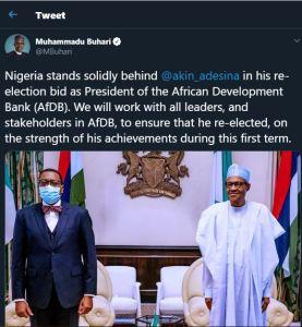 Buhari supports Akinwumi Adesina reelection bid