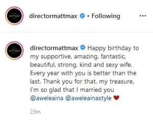 Matt Max sends Loving Message to Wife, Awele Aina on her birthday