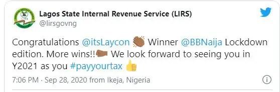 #BBNaija: LIRS urges Laycon to pay tax after cash reward