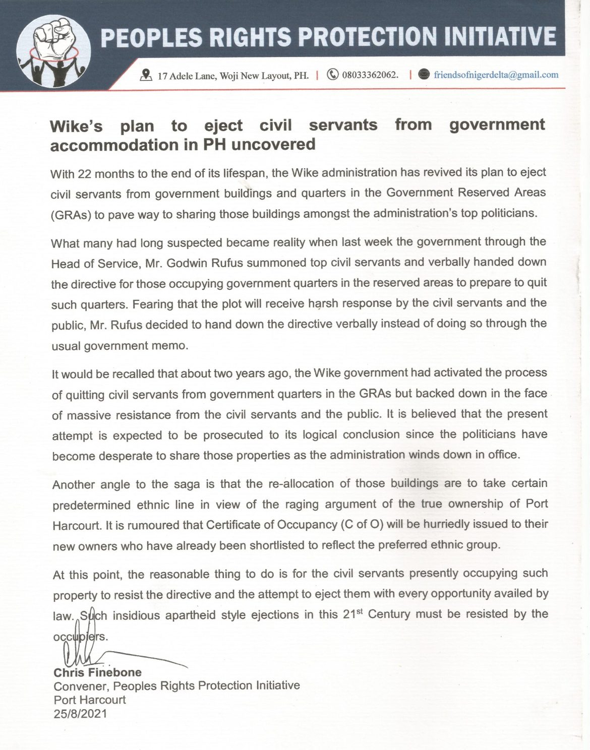 Wike's plan to eject civil servants from government accommodation - PRPI