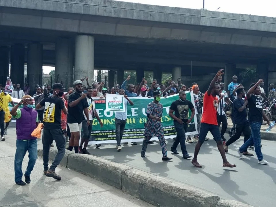 Lagos June 12: Police surround Gani Fawehinmi Park, as protesters arrive