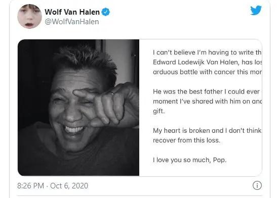 Guitarist, Eddie Van Halen has died at 65