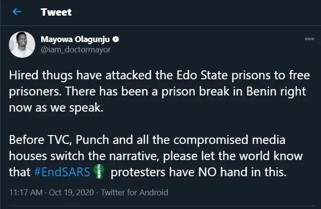 Edo Prison Break: Prisoners escape from Benin prison