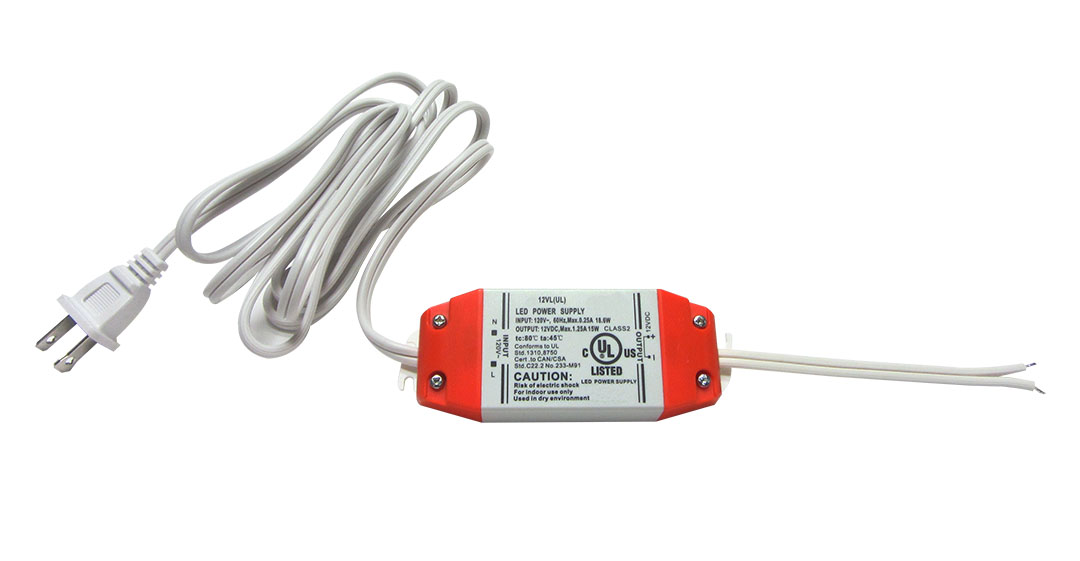 Class 2 rated 15 Watt LED Power supply with Plug