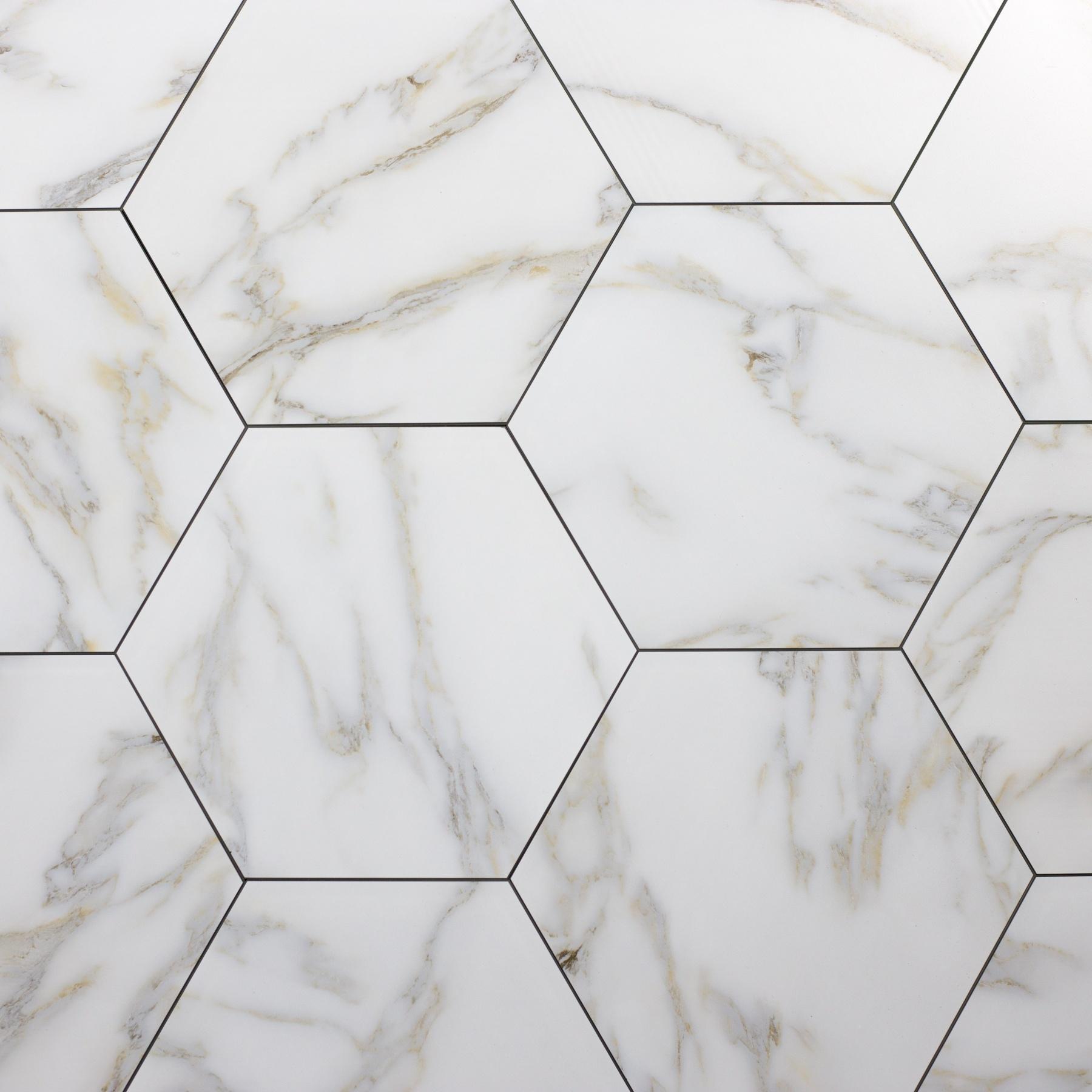 Nature 8 in x 8 in Glass Hexagon Tile in CALACATTA GOLD Matte