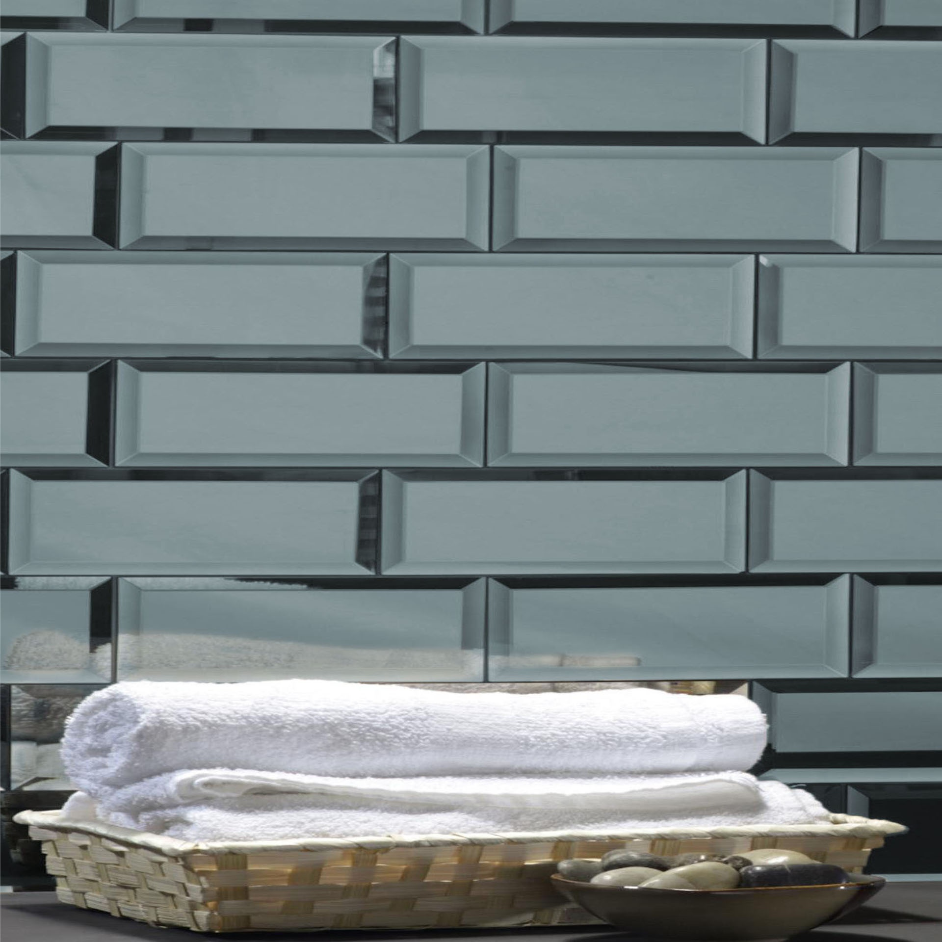 Reflections 3 in x 12 in Mirror Subway Tile in GRAPHITE Glossy