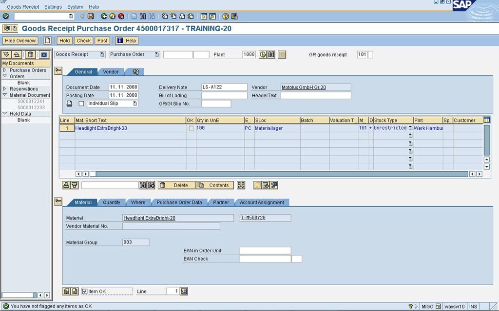 Como tornar automático o processo de recebimento no SAP MIGO