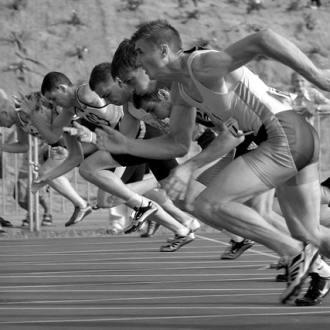 running race black and white