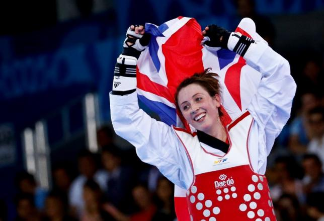 Jade Jones of Britain reacts after winning her women's 57Kg taekwondo gold medal fight against Ana Zaninovic of Croatia at the 1st European Games in Baku, Azerbaijan, June 17 , 2015. REUTERS/Stoyan Nenov