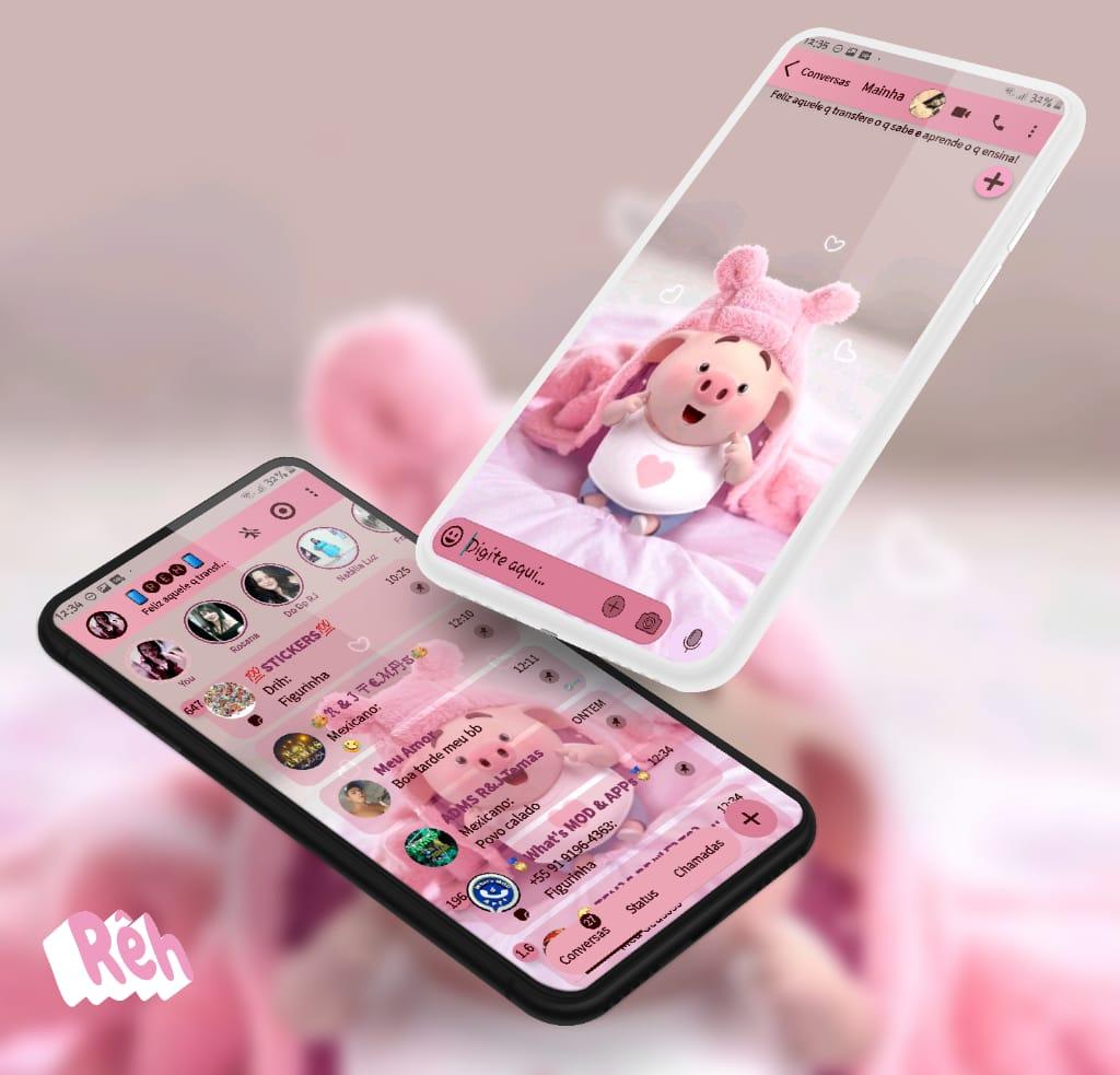Tema Aero Whatsapp - Fluffy piggy