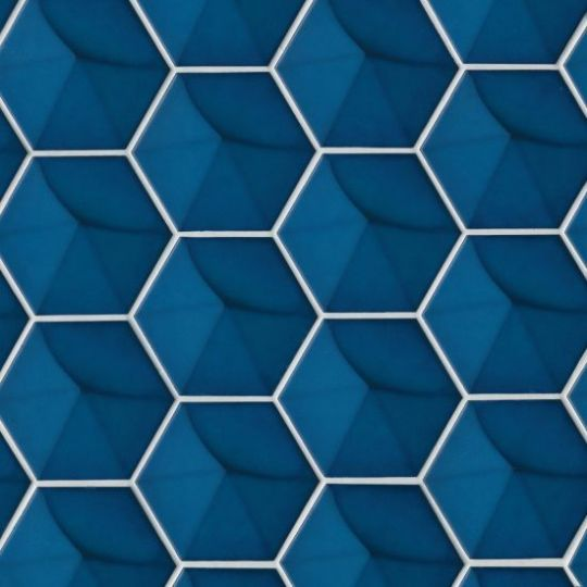 bedrosians hedron electric blue hexagon gloss wall tile