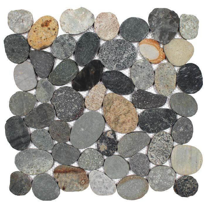 tesoro ocean stones java sliced pebble mosaic