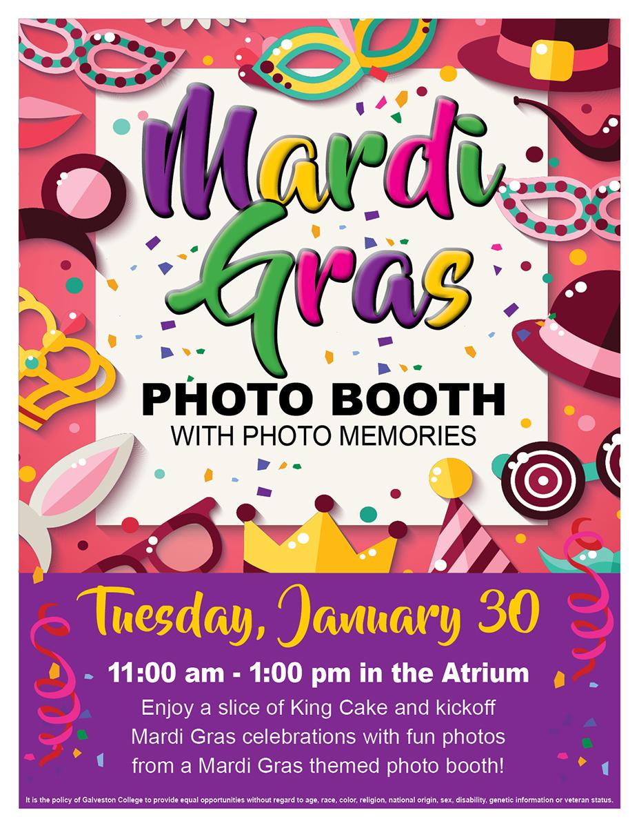 Mardi Gras Photo Booth, Tuesday, January 30