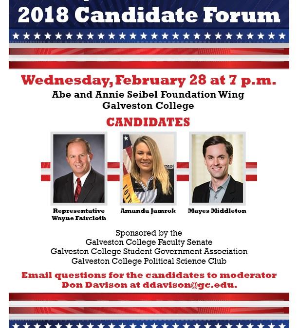 Galveston College Faculty Senate, SGA and Political Science Club to host State Representative – District 23 Candidate Forum