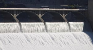 A tour group leaves the big bus to peer over the edge of the dam as the Columbia roars over the top.