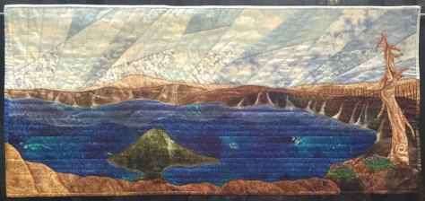 Oregon's Crater Lake in fabric and detailed quilting.