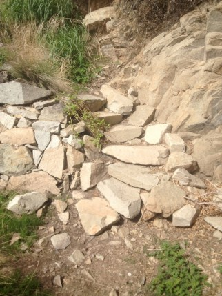 Stone work on the trail was originally accomplished by the CCCs during the Great Depression.