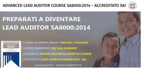 GCERTI ITALY ORGANIZZA IL CORSO LEAD AUDITOR SA8000:2014